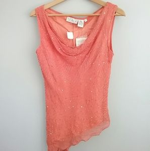 Scala Silk Coral Beaded Asymmetric Top